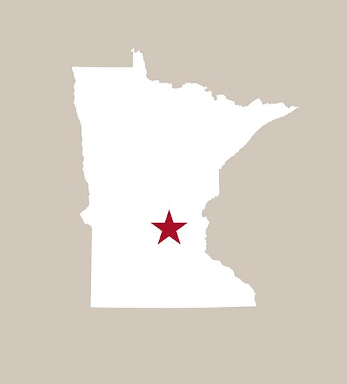 Star on Minnesota map marking Buffalo MN